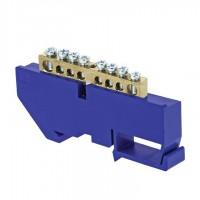 Контактная шина с синим креплением на DIN-рейку 8 выводов