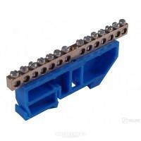 Контактная шина с синим креплением на DIN-рейку 18 выводов