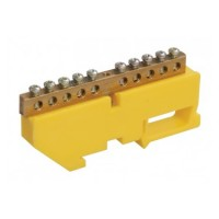 Контактная шина с желтым креплением на DIN-рейку 18 выводов