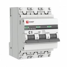 Автоматический выключатель ВА 47-63, 3P 1А (C) 4,5kA EKF PROxima