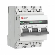 Автоматический выключатель ВА 47-63, 3P 4А (C) 4,5kA EKF PROxima