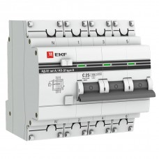 Дифференциальный автомат АД-32 3P+N 25А/30мА (хар. C, AC, электронный, защита 270В) 4,5кА EKF PROxim